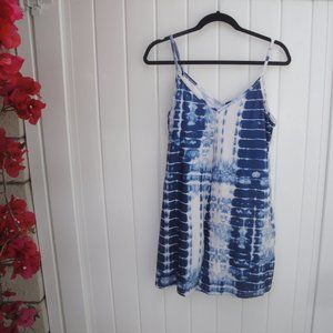 Bohemian Navy Blue Tie-Dye Knit Romper Large